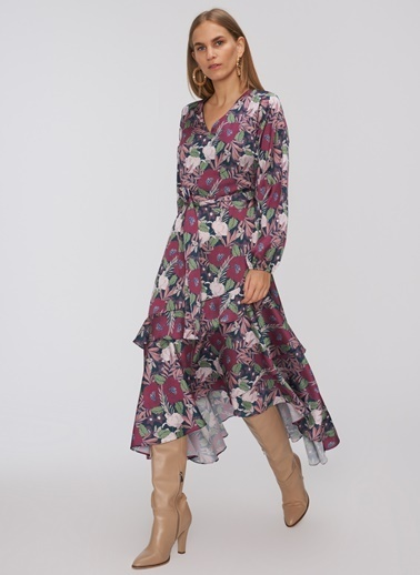 People By Fabrika Volanlı Desenli Elbise Lacivert